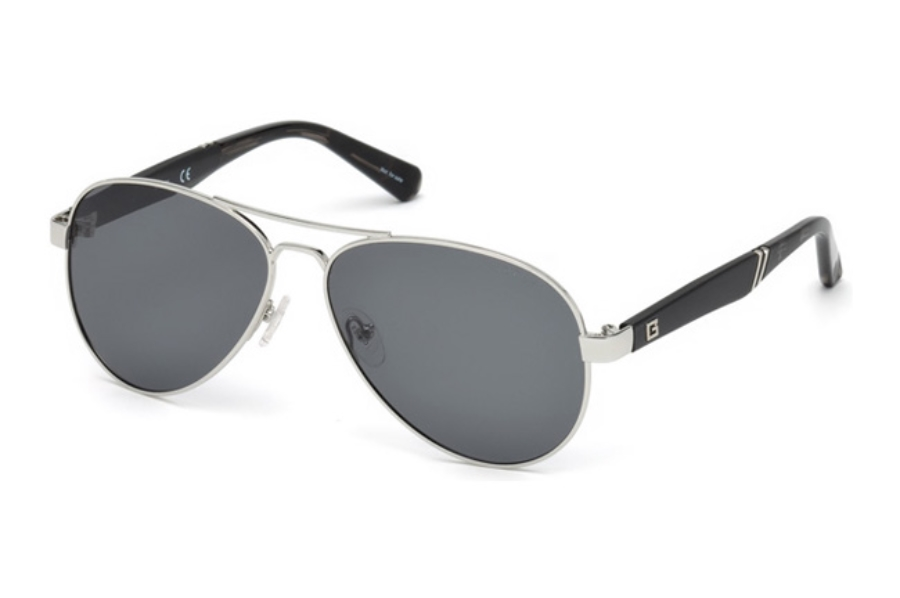 Guess GU 6930 Sunglasses in 10D - Shiny Light Nickeltin / Smoke Polarized